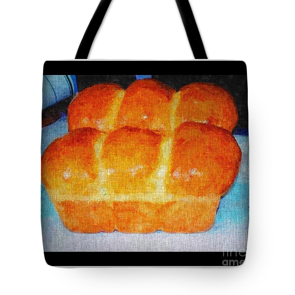 Fresh Baked Bread Three Bun Loaf Tote Bag featuring the digital art Fresh Baked Bread Three Bun Loaf by Barbara Griffin