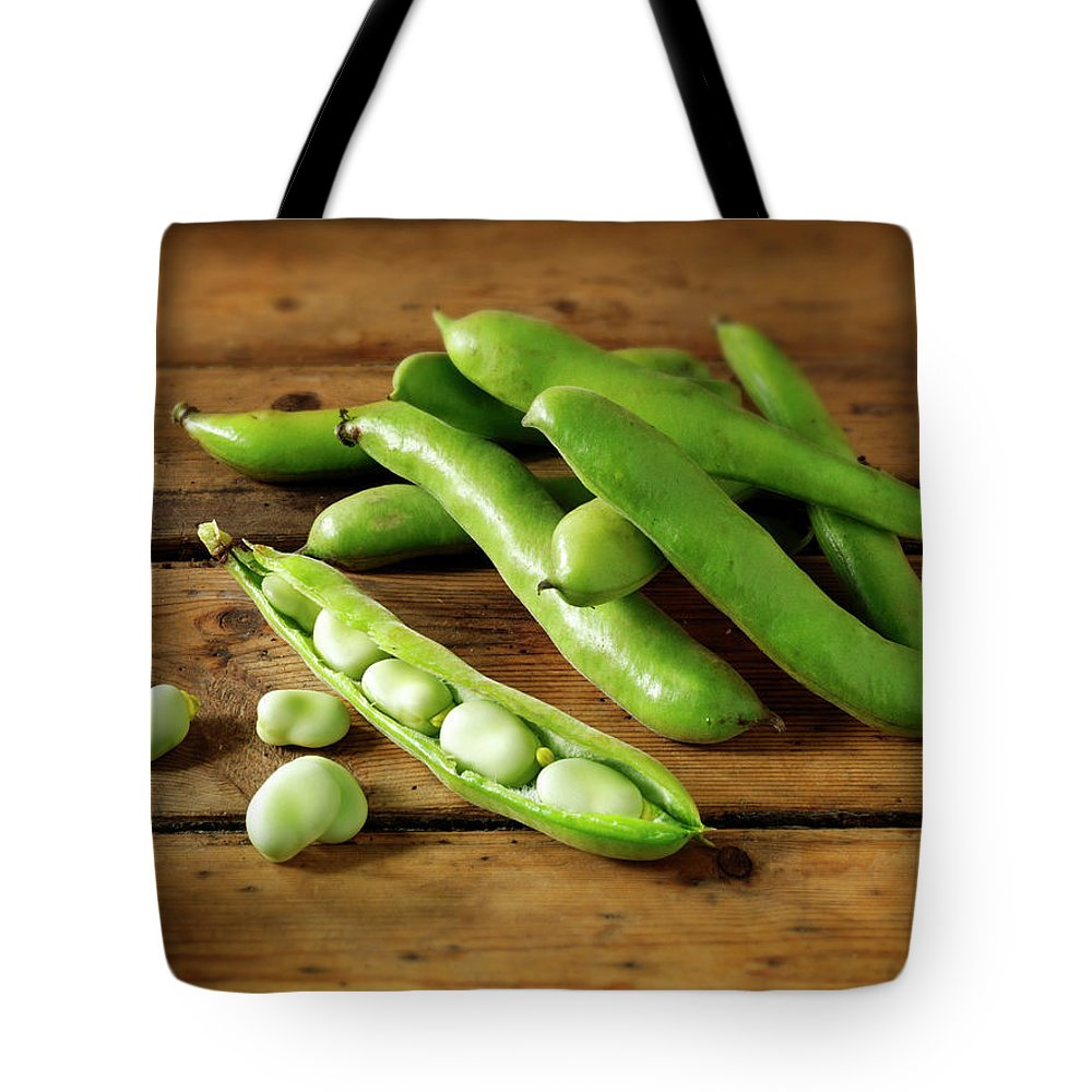 Healthy Eating Tote Bag featuring the photograph Fresh Broad Beans In Their Pods by Paul Williams - Funkystock