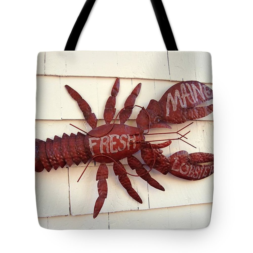 Nautical Tote Bag featuring the photograph Fresh Maine Lobster Sign Boothbay Harbor Maine by Patricia E Sundik