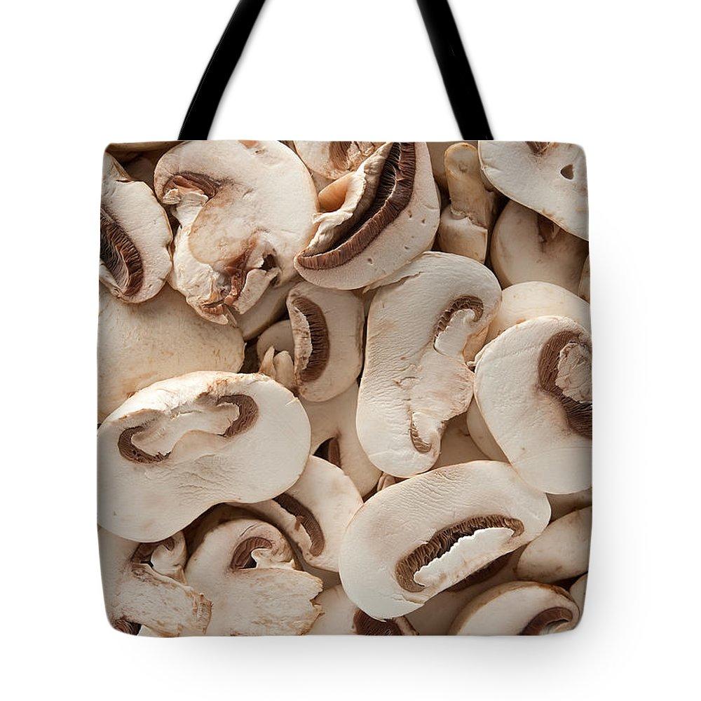 Kitchen Tote Bag featuring the photograph Fresh Mushrooms by Steve Gadomski