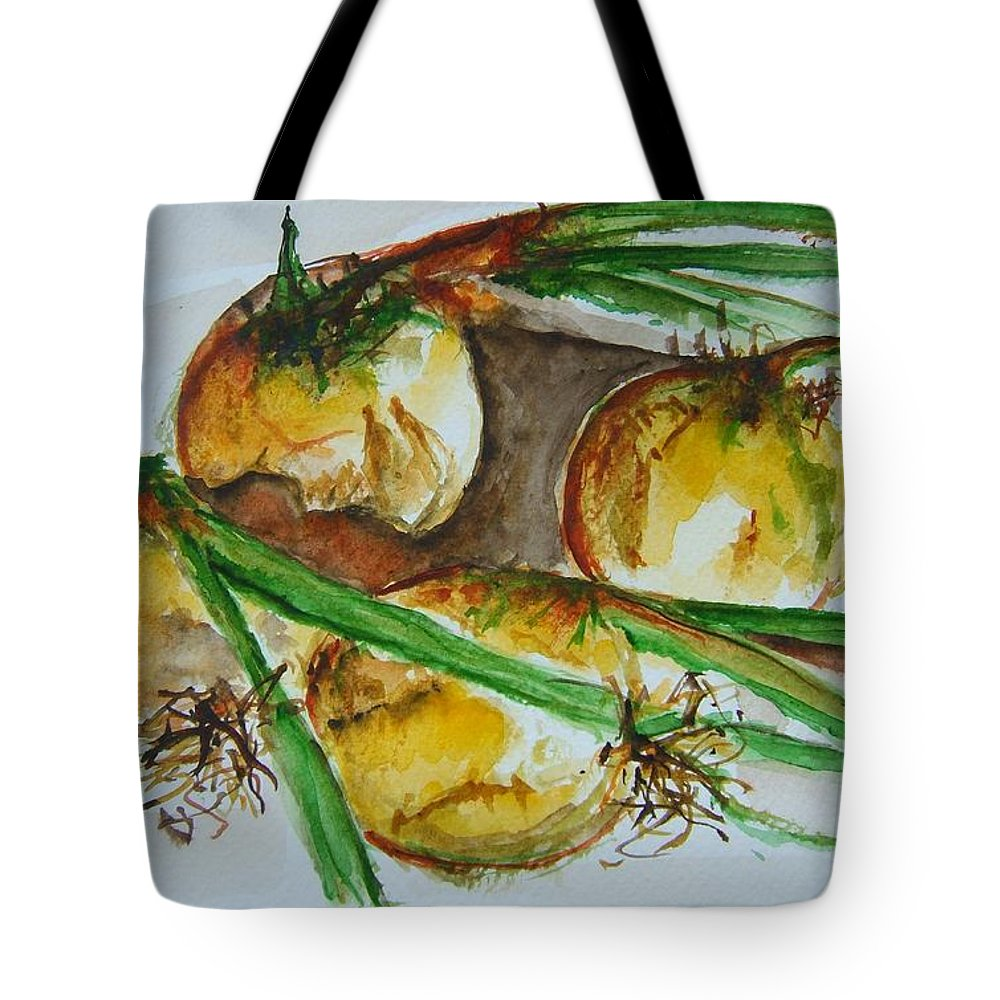 Garden Vegetable Tote Bag featuring the painting Fresh Onions by Elaine Duras