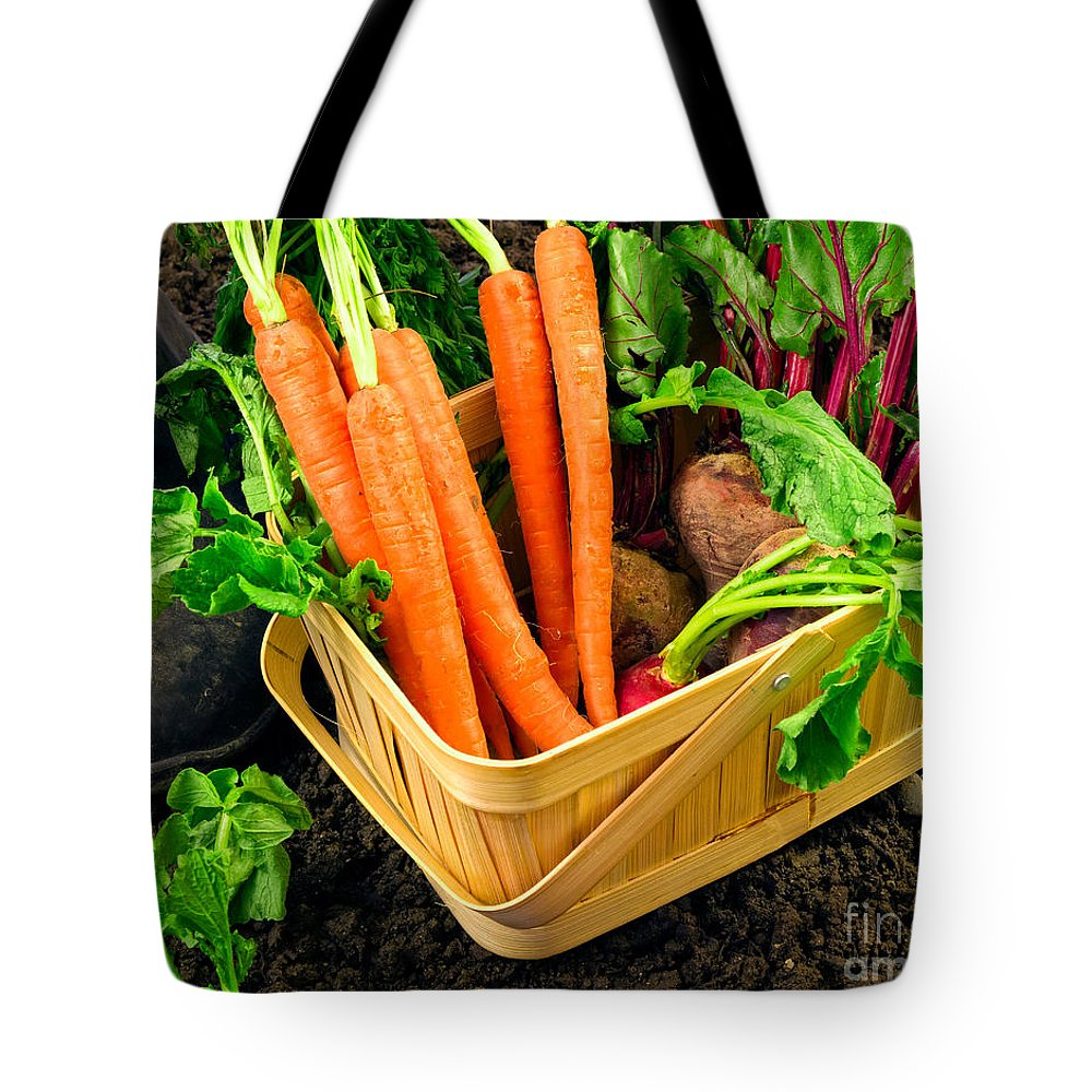 Produce Tote Bag featuring the photograph Fresh Picked Healthy Garden Vegetables by Edward Fielding