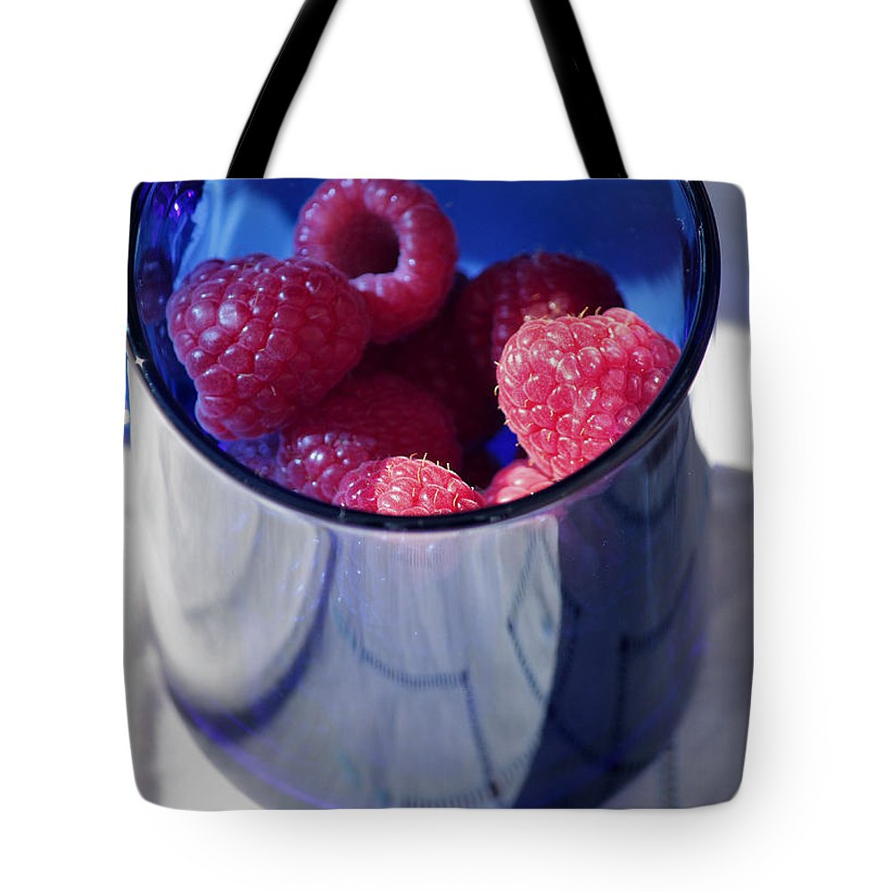 Raspberries Tote Bag featuring the photograph Fresh Raspberries In A Blue Cup by Luv Photography