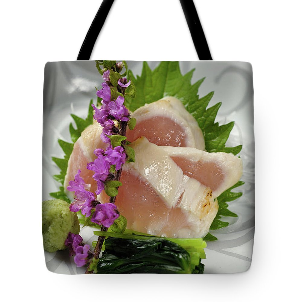 Japanese Food Tote Bag featuring the photograph Fresh Slices Of The Bird Of by Ryouchin