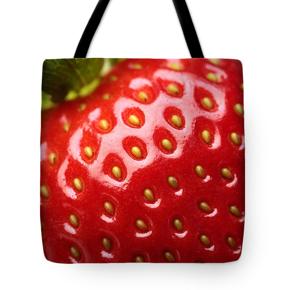 Strawberry Tote Bag featuring the photograph Fresh Strawberry Close-up by Johan Swanepoel