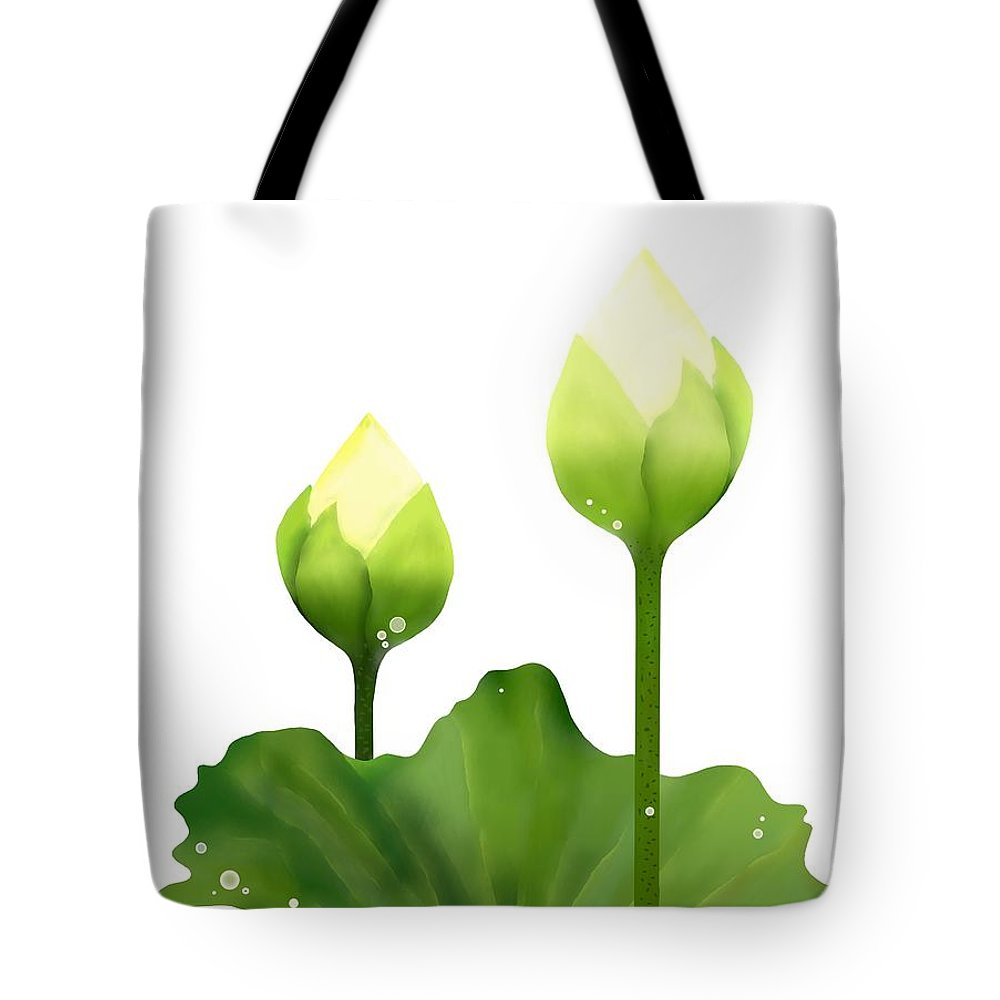 Fresh White Lotus Flowers And Leaf On White Background Tote Bag For