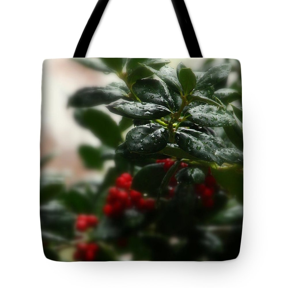 Holly Tote Bag featuring the photograph Fresh Winter Rain Two by Jeanette C Landstrom