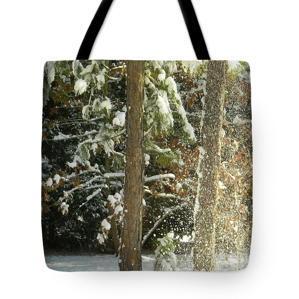 Snow Tote Bag featuring the digital art Freshly Blowing Snow by Matthew Seufer