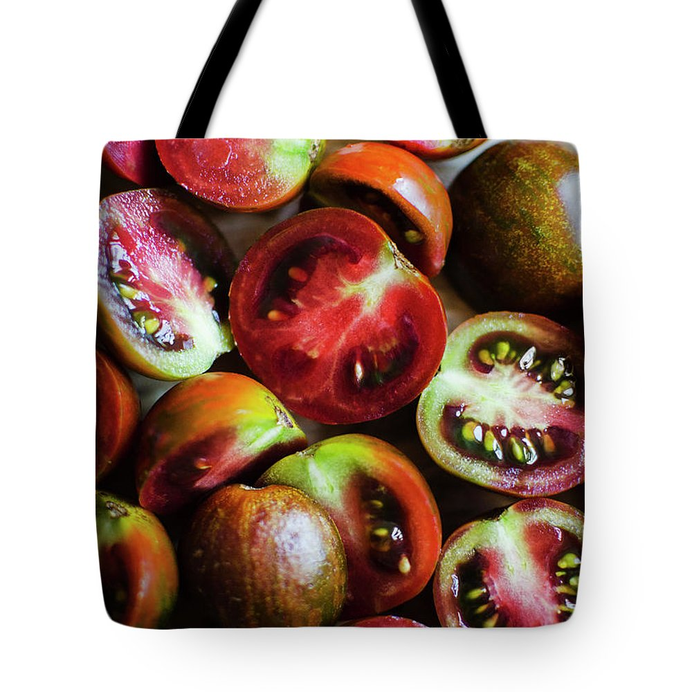 Tranquility Tote Bag featuring the photograph Freshly Cut Tomatoes by Jamie Grill