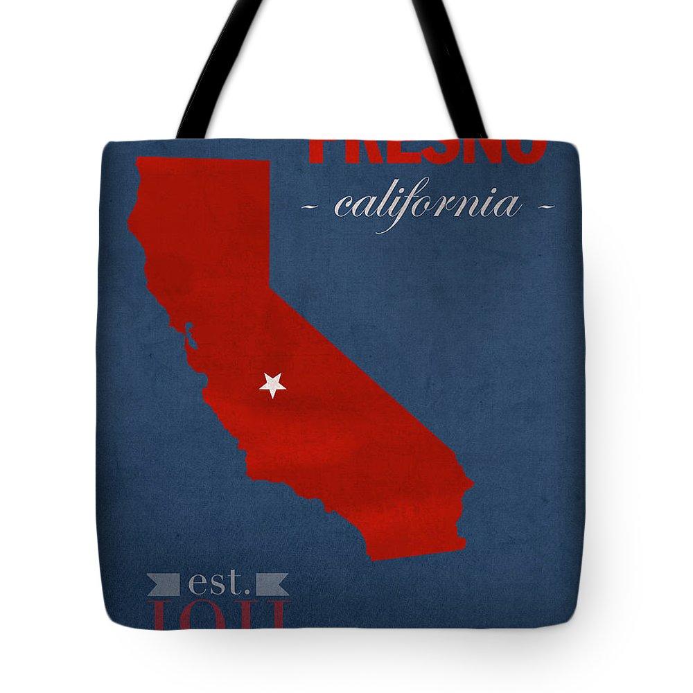 Fresno State University Bulldogs California College Town State Map