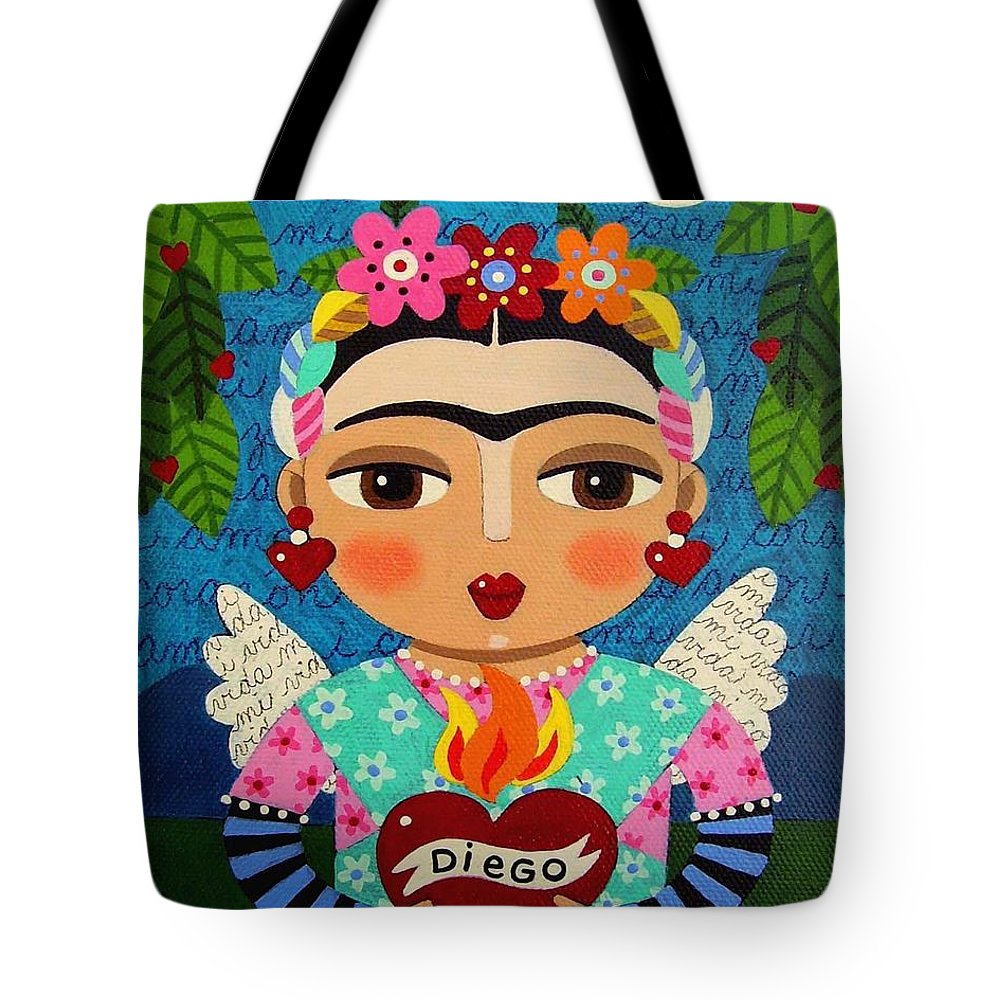 Frida Tote Bag featuring the painting Frida Kahlo Angel And Flaming Heart by LuLu Mypinkturtle