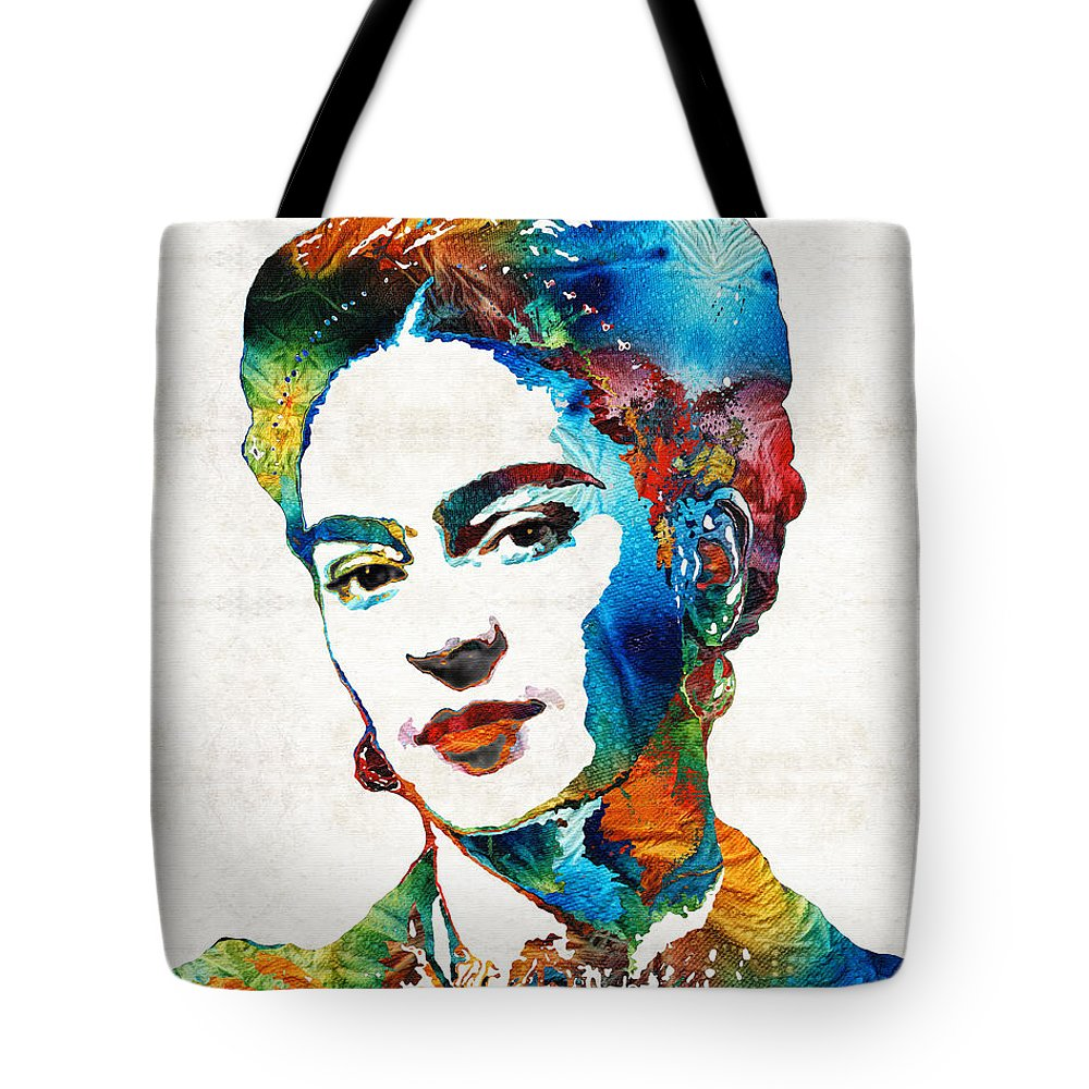 Frida Kahlo Tote Bag featuring the painting Frida Kahlo Art - Viva La Frida - By Sharon Cummings by Sharon Cummings