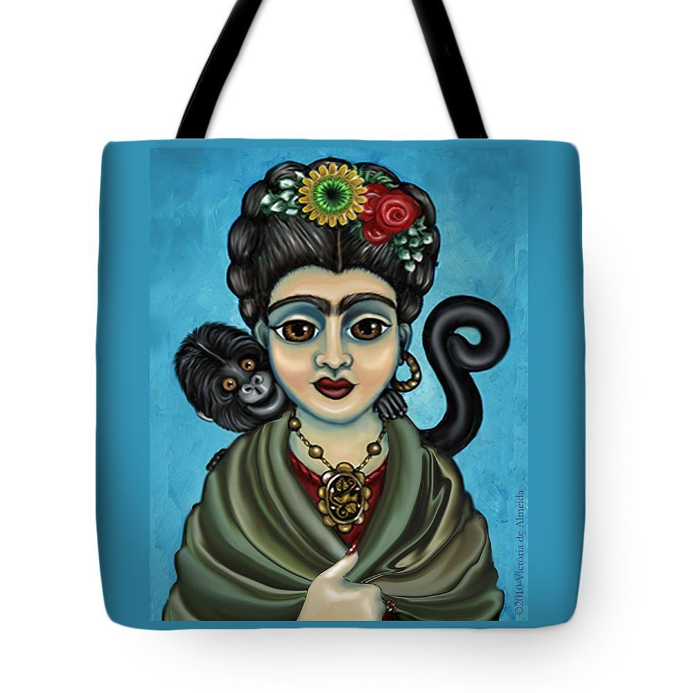 Frida Tote Bag featuring the painting Frida's Monkey by Victoria De Almeida