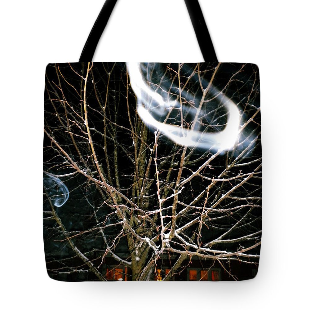 Colette Tote Bag featuring the photograph Friendly Invisibles Visiters From Beyond Flying In Over Night by Colette V Hera Guggenheim