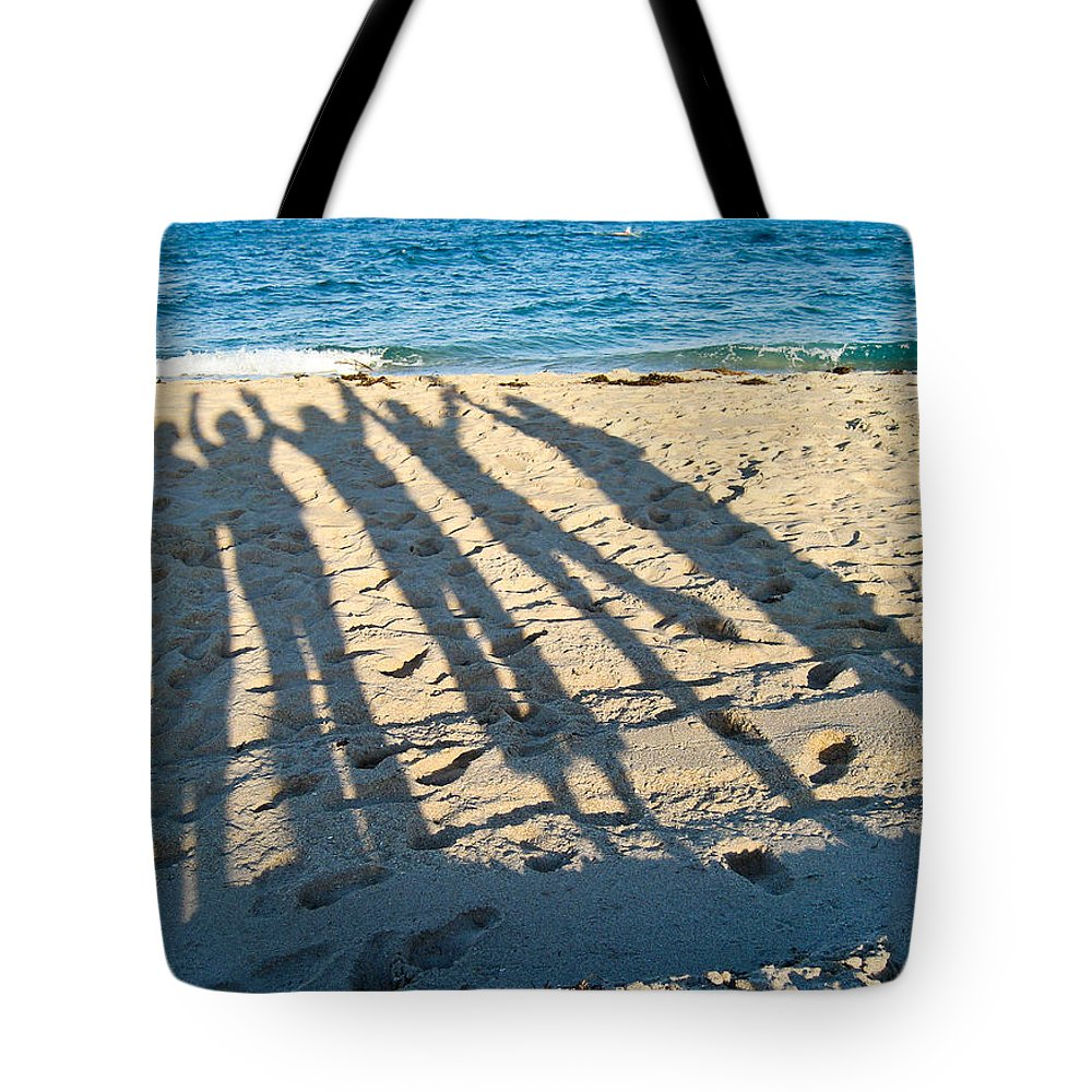 Sand Tote Bag featuring the photograph Friends At The Beach by Michelle Wiarda-Constantine