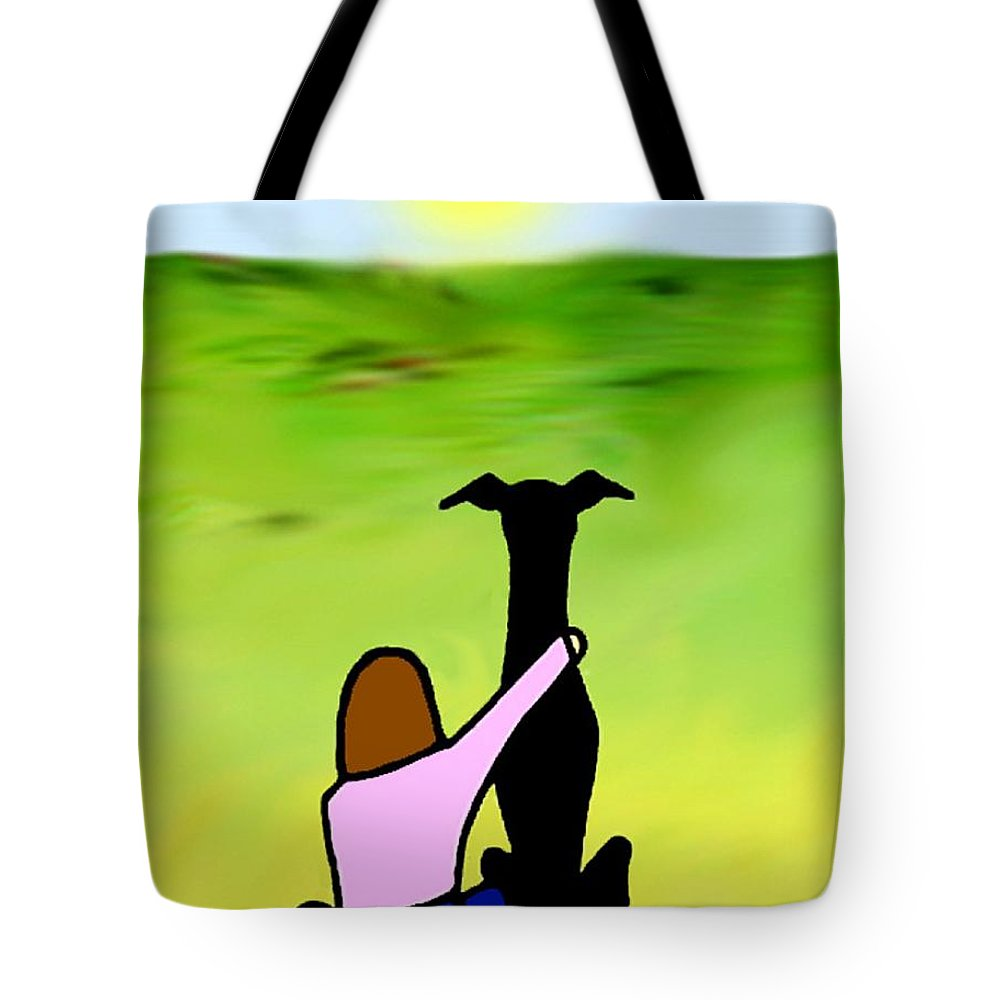 Greyhound Tote Bag featuring the digital art Friends Black Grey by Jennifer Howard