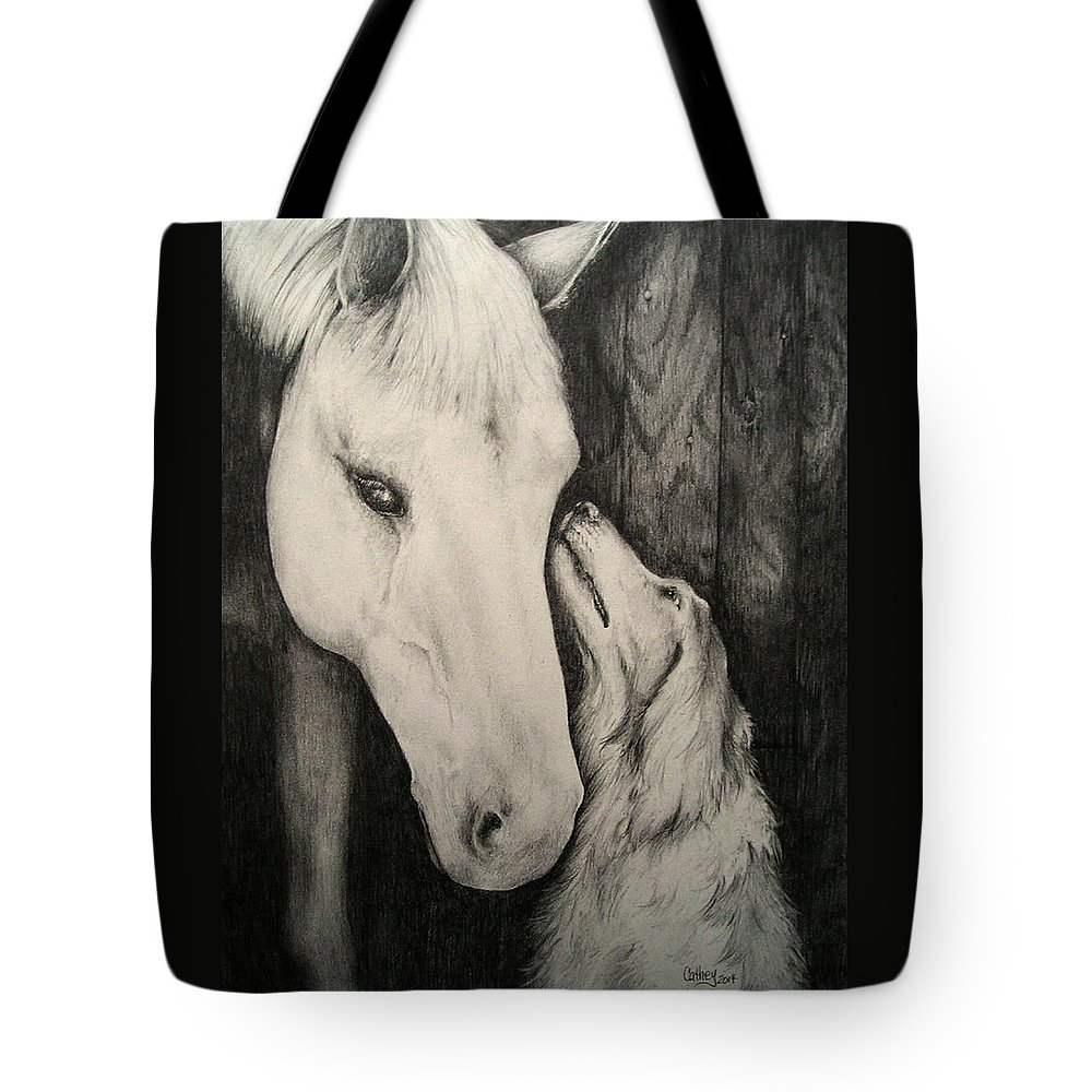 Horse Tote Bag featuring the drawing Friends by Catherine Howley