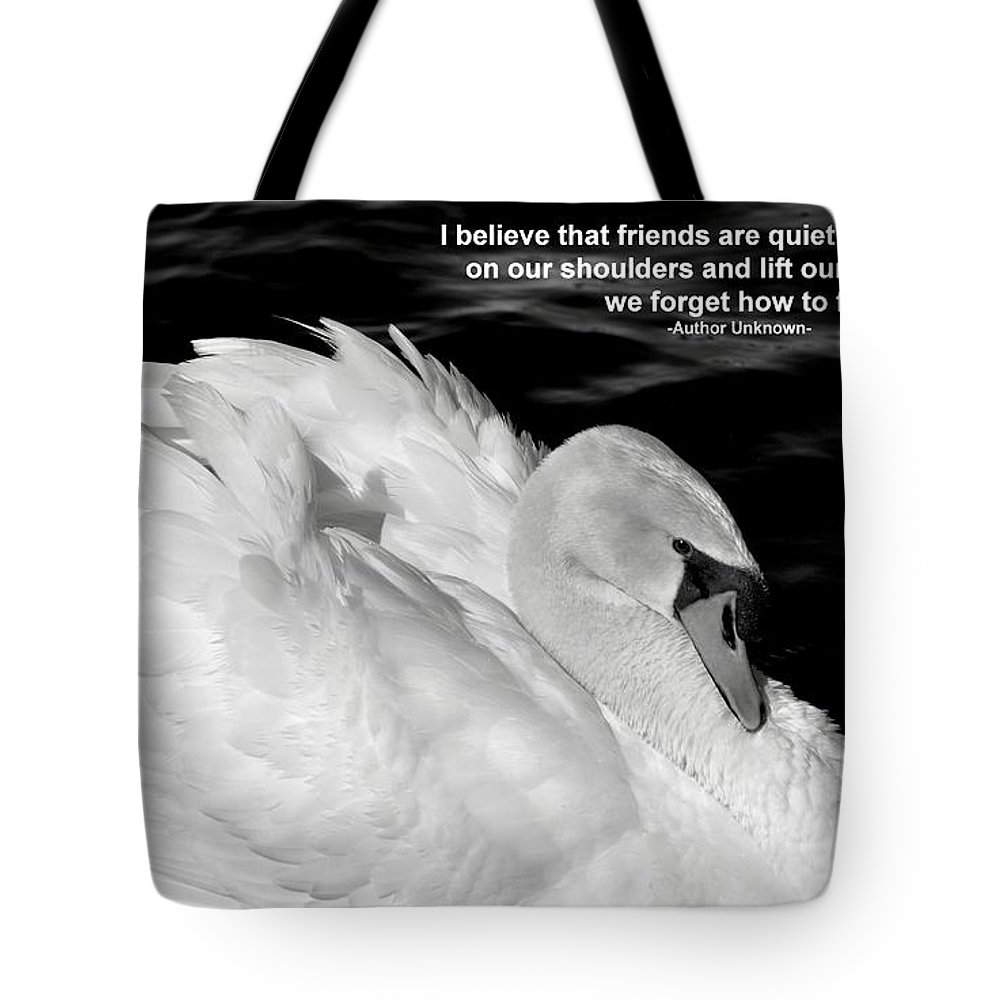 White Swan Tote Bag featuring the photograph Friends by Deb Halloran