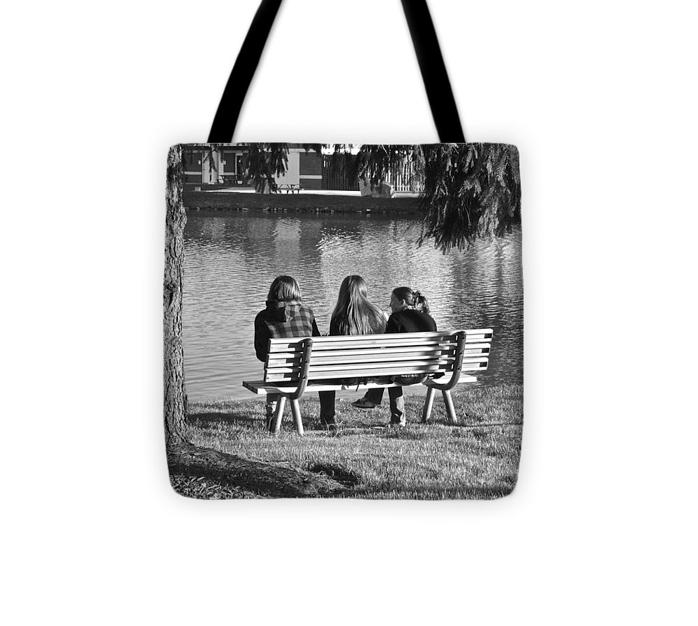 Friends Tote Bag featuring the photograph Friends In Black And White by Frozen in Time Fine Art Photography