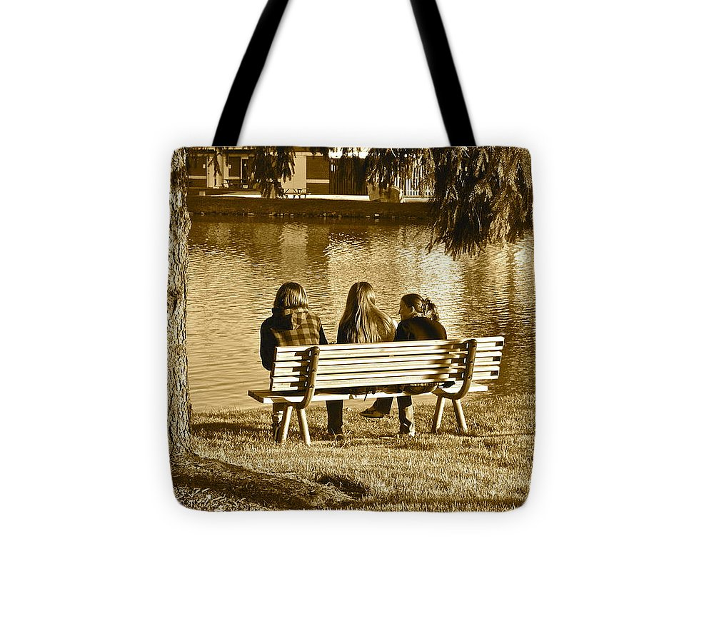 Friends Tote Bag featuring the photograph Friends In Sepia by Frozen in Time Fine Art Photography
