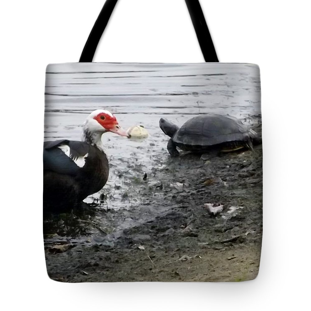 Duck Tote Bag featuring the photograph Friends by Linda Kerkau