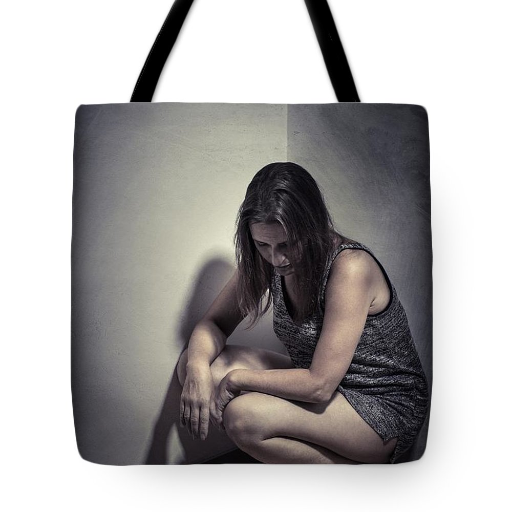 Victim Tote Bag featuring the photograph Frightened Woman by Carlos Caetano