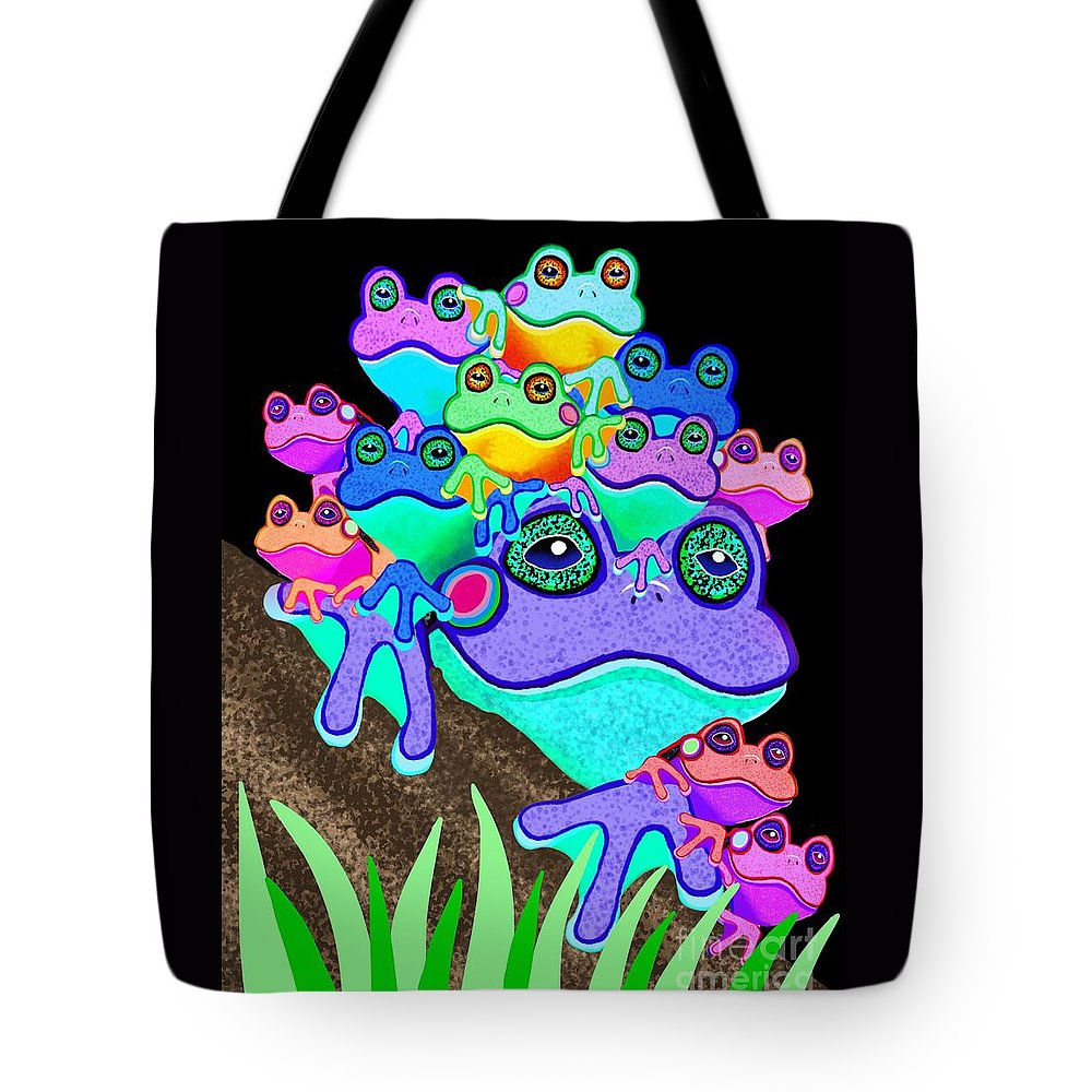 Frogs Tote Bag featuring the painting Frog Family Too by Nick Gustafson