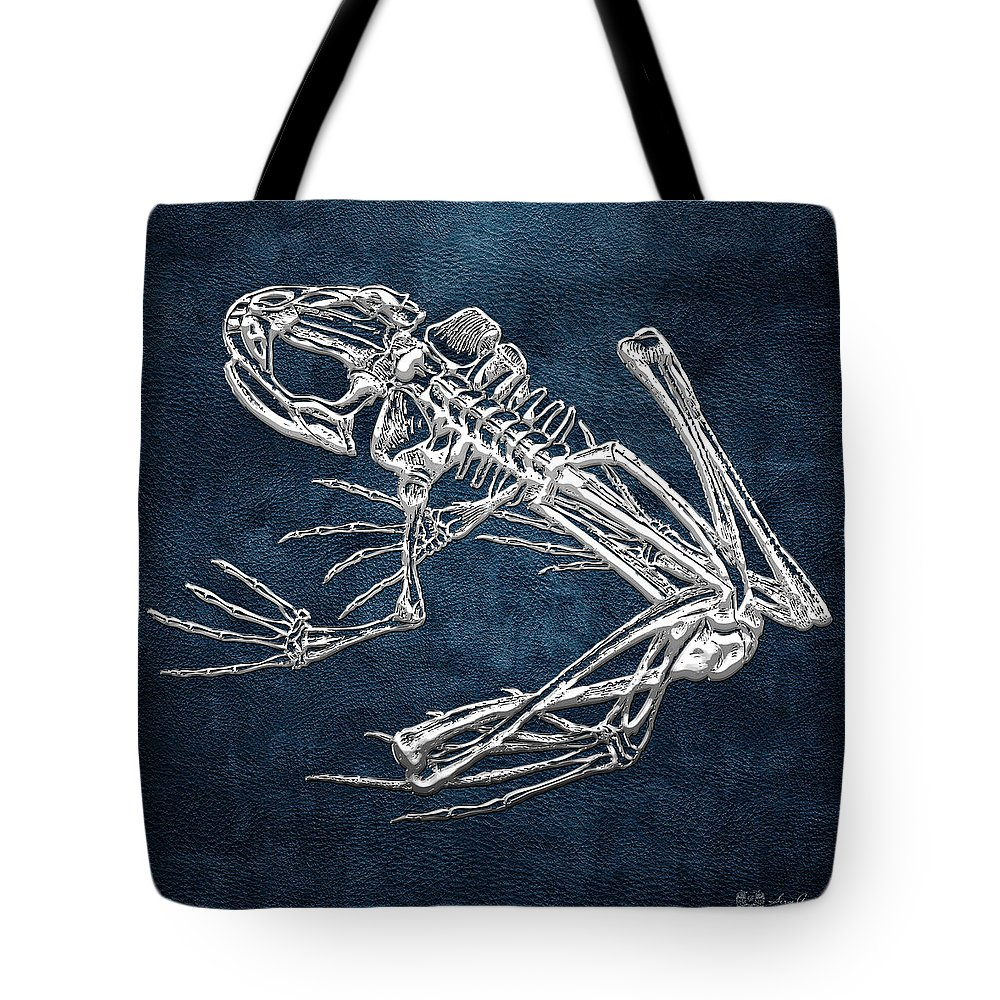 'precious Bones' Collection By Serge Averbukh Tote Bag featuring the digital art Frog Skeleton In Silver On Blue by Serge Averbukh