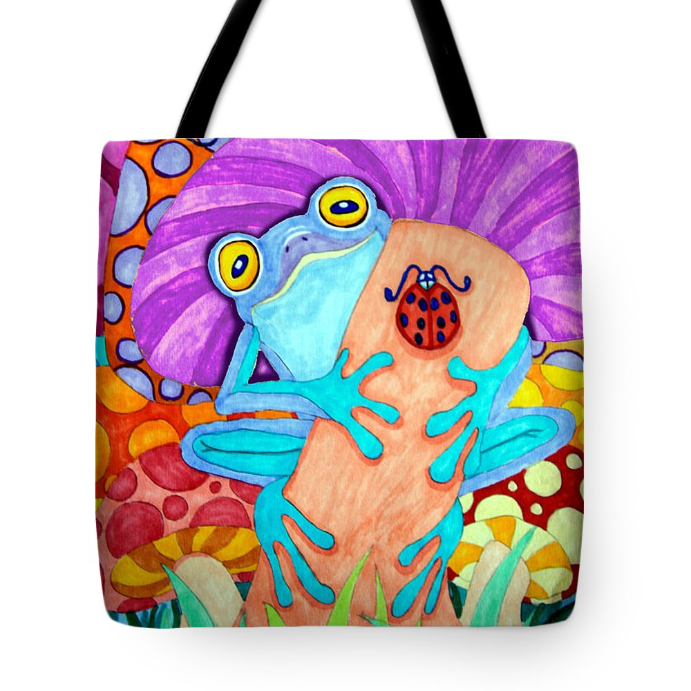 Frog Tote Bag featuring the drawing Frog Under A Mushroom by Nick Gustafson