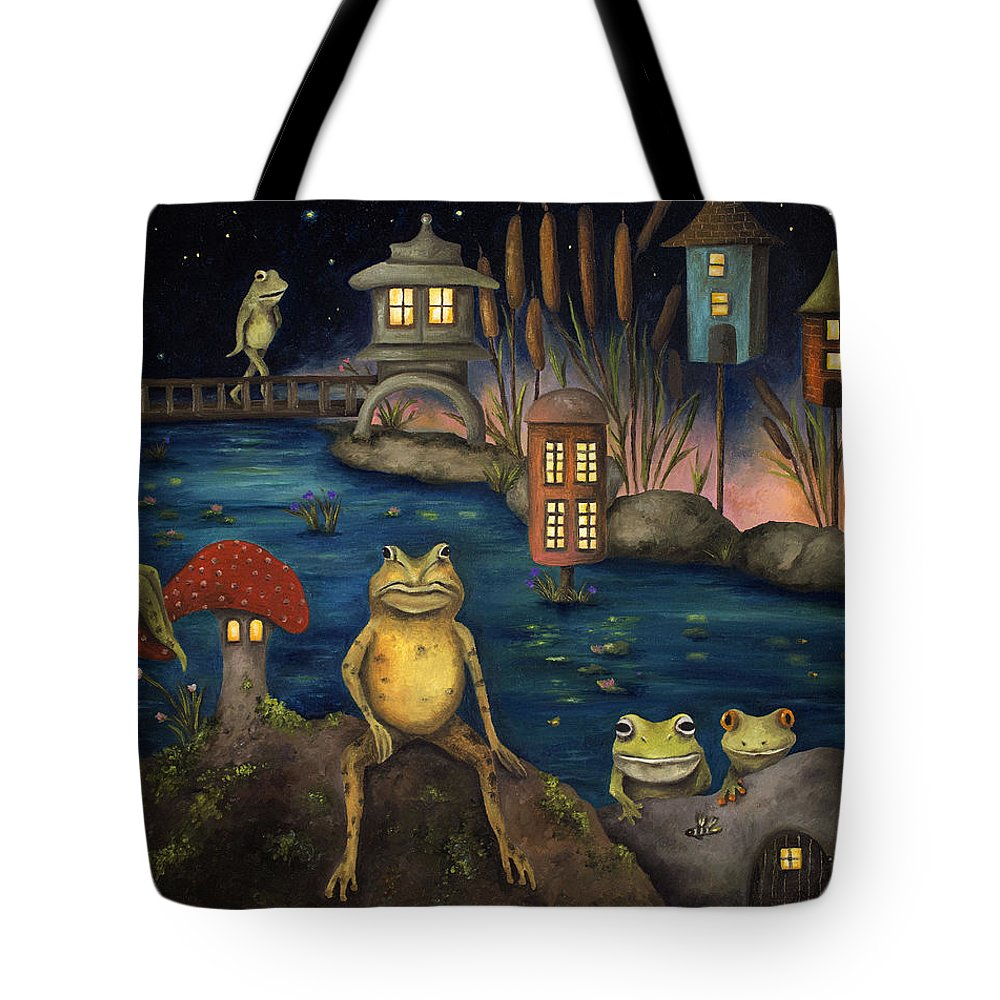 Frog Tote Bag featuring the painting Frogland by Leah Saulnier The Painting Maniac