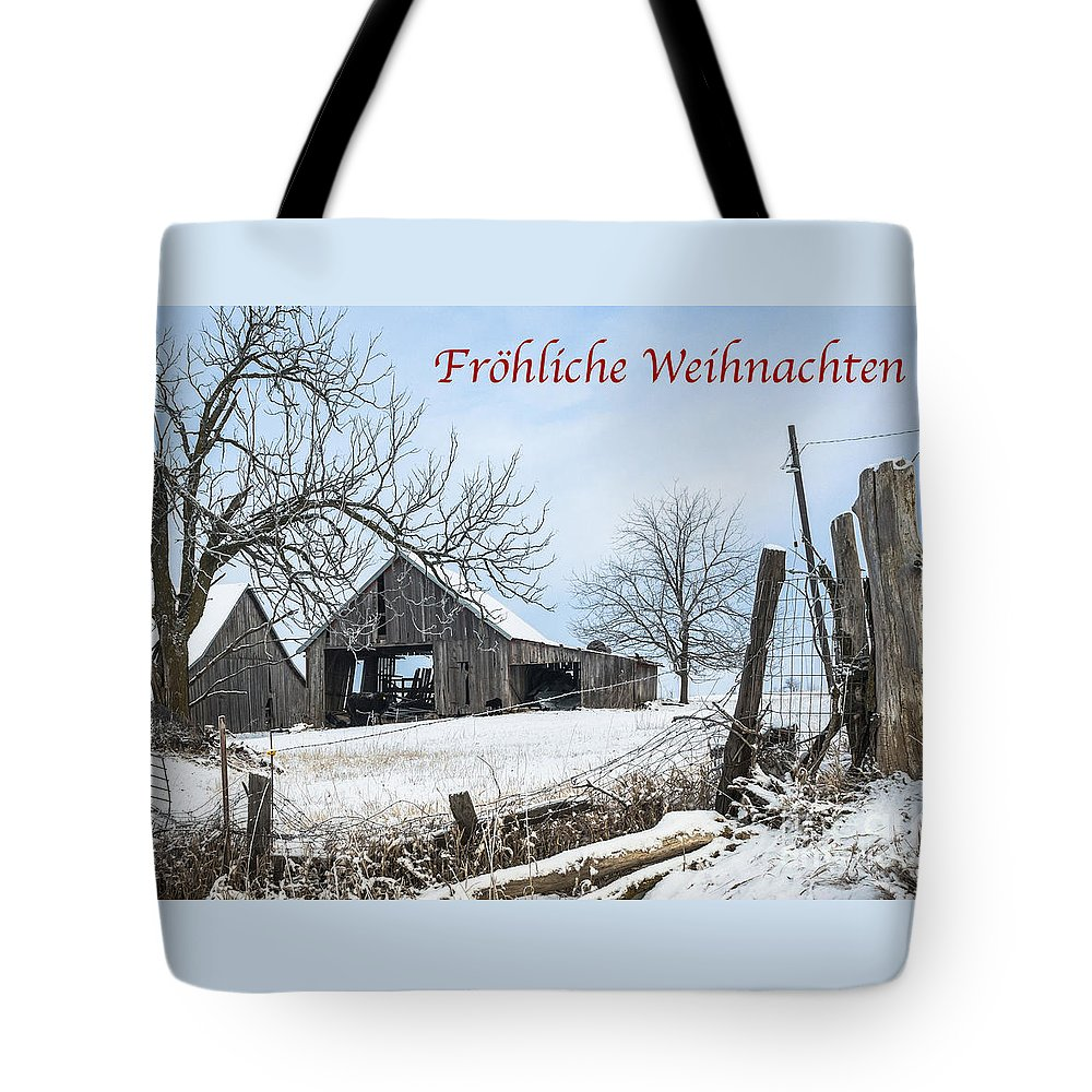 German Tote Bag featuring the photograph Frohliche Weihnachten With Weathered Barn by Imagery by Charly