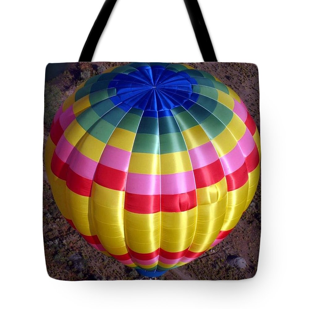 Hot Air Balloon Tote Bag featuring the photograph From Above by Mary Rogers