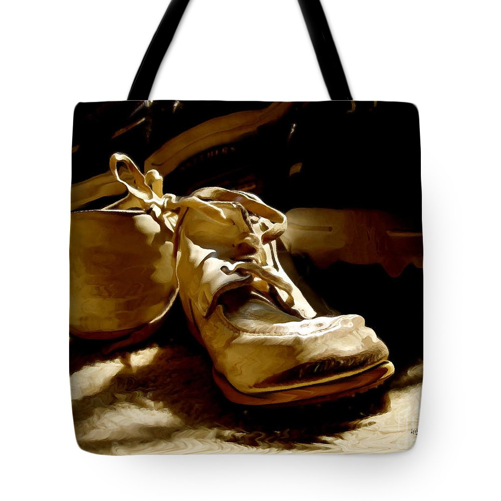 Shoe Tote Bag featuring the photograph From Baby To Man In The Blink Of An Eye by Lois Bryan