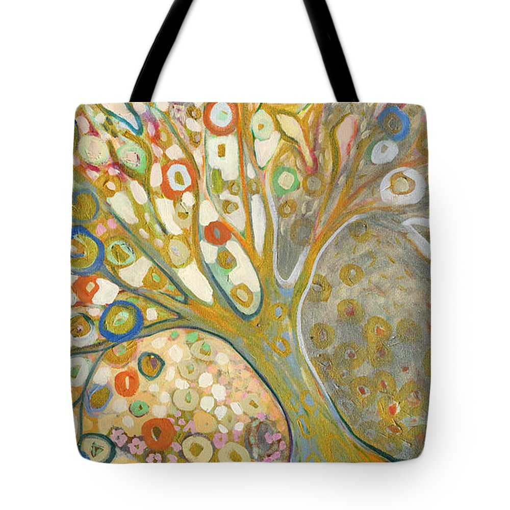 Tree Tote Bag featuring the painting From Out of the Rubble Part B by Jennifer Lommers