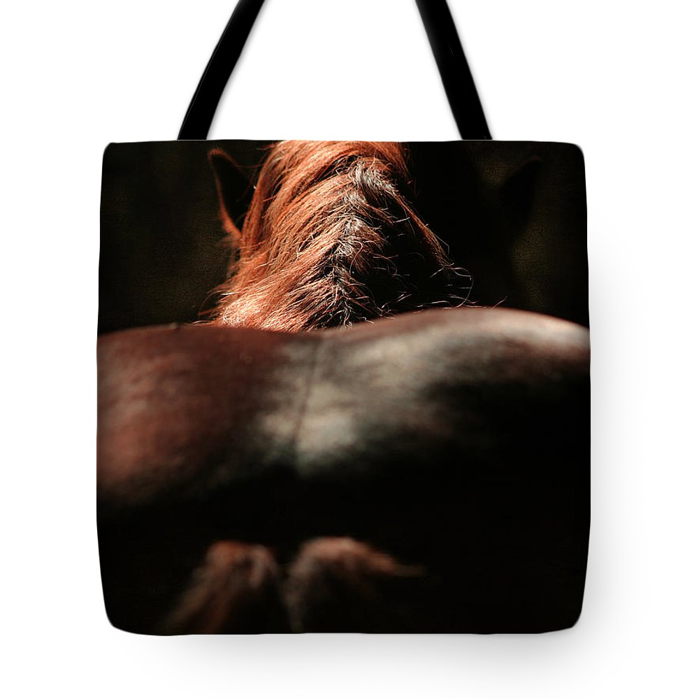 Horse Tote Bag featuring the photograph From The Back by Angel Ciesniarska