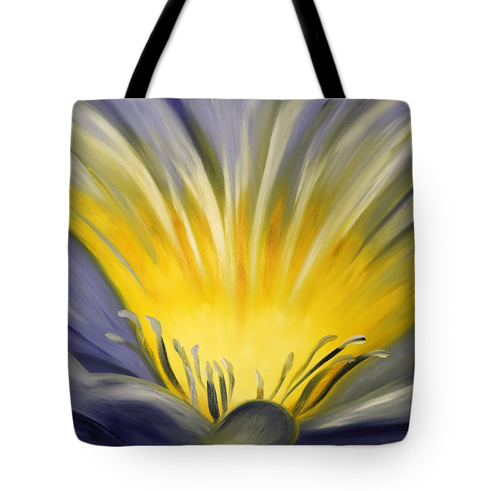 Blue Tote Bag featuring the painting From The Heart Of A Flower Blue by Gina De Gorna
