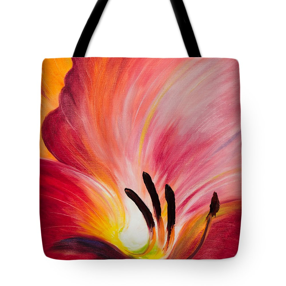 Red Tote Bag featuring the painting From The Heart Of A Flower Red I by Gina De Gorna