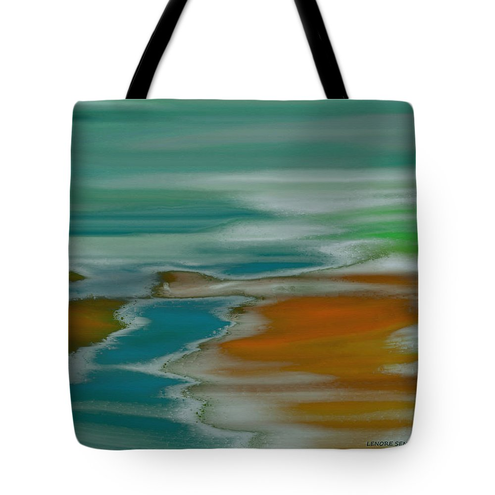 Abstract Tote Bag featuring the painting From The River To The Sea by Lenore Senior