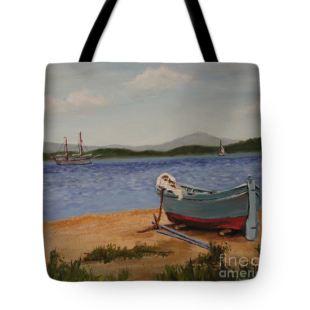 Dwayne Glapion Tote Bag featuring the painting From The Shore by Dwayne Glapion