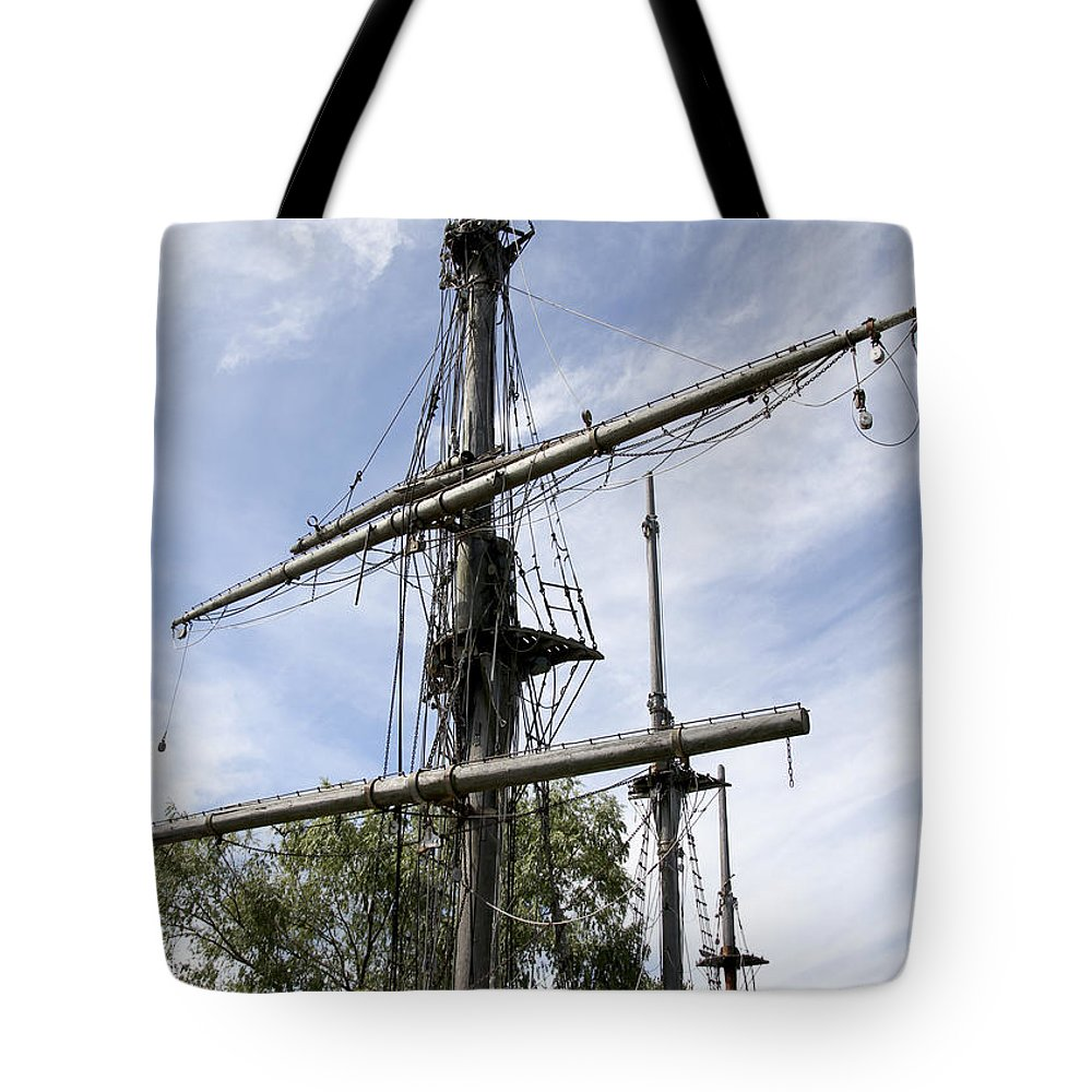 Ship Tote Bag featuring the photograph From The Yardarm In Glen Cove by Bob Slitzan