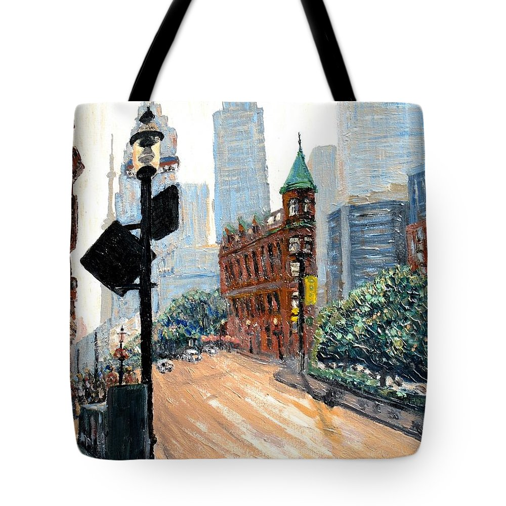 Toronto Tote Bag featuring the painting Front And Church by Ian MacDonald