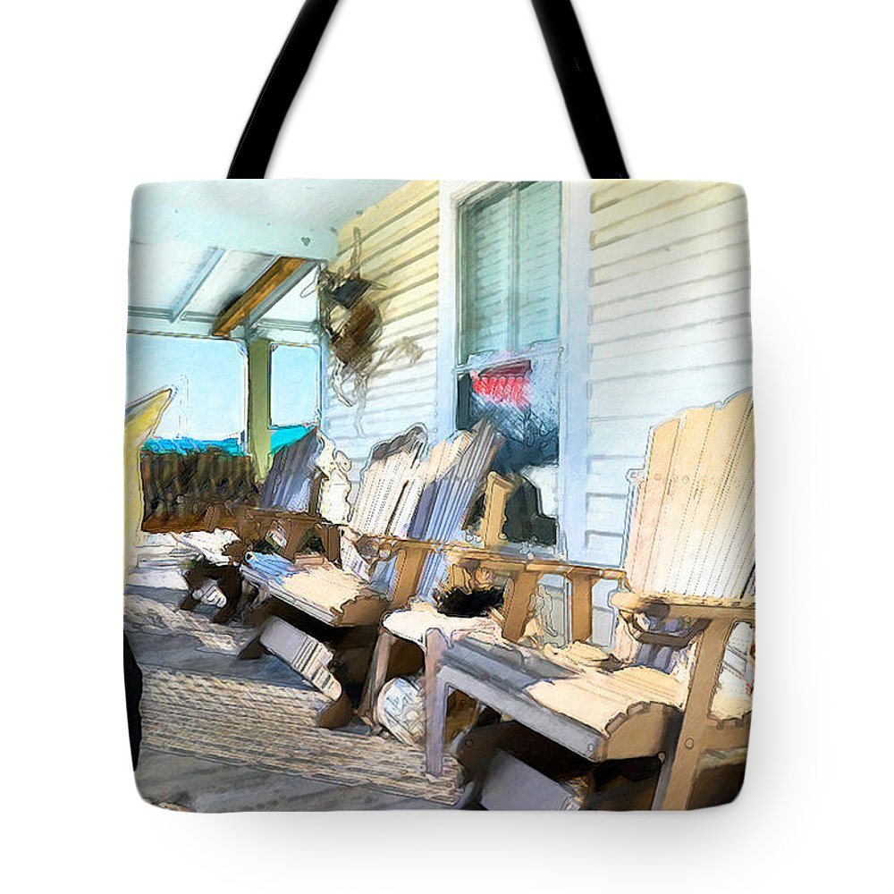 American Tote Bag featuring the painting Front Porch On An Old Country House 2 by Jeelan Clark