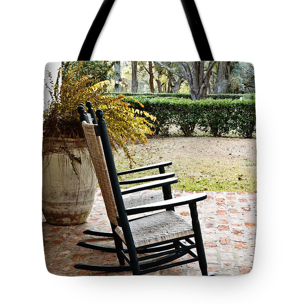 Rocking Chair Tote Bag featuring the photograph Front Porch Rockers by Scott Pellegrin