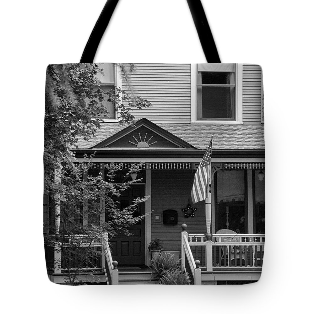 Black And White Tote Bag featuring the photograph Front Porch Usa Black And White by Thomas Woolworth