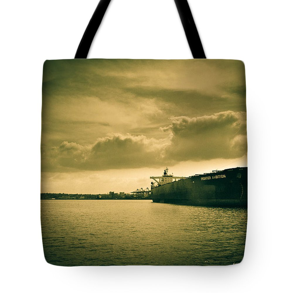 Black And White Tote Bag featuring the photograph Frontier Ambition Ship by Eti Reid