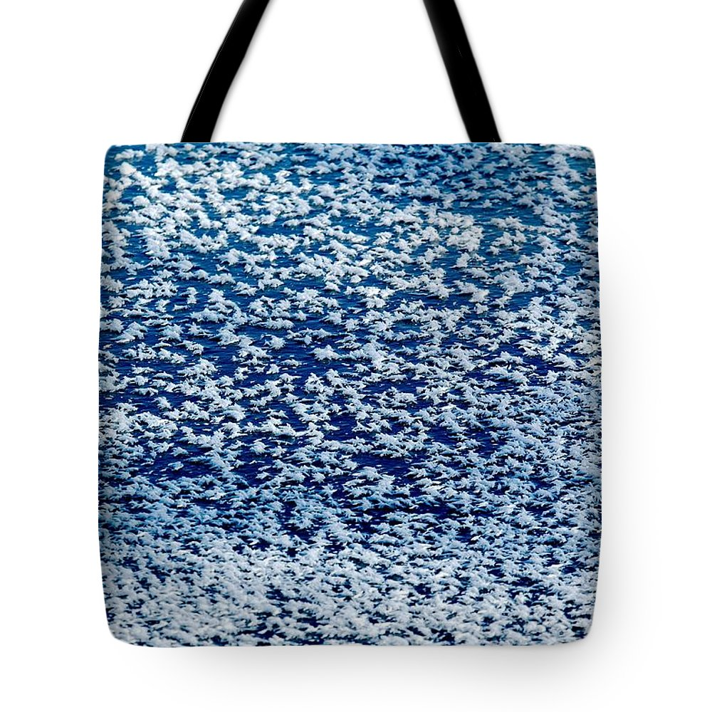 Frost Tote Bag featuring the photograph Frost Flakes On Ice - 02 by Larry Jost