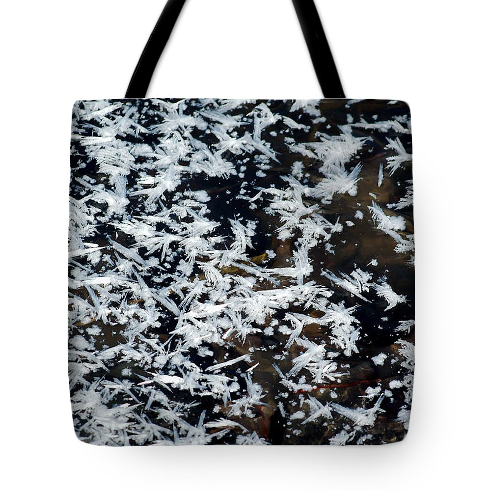Frost Tote Bag featuring the photograph Frost Flakes On Ice - 11 by Larry Jost