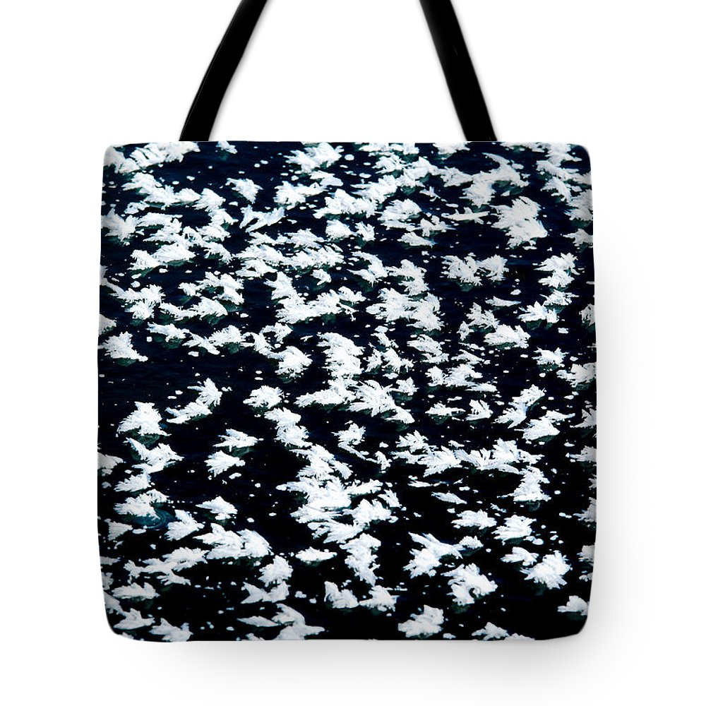Frost Tote Bag featuring the photograph Frost Flakes On Ice - 16 by Larry Jost