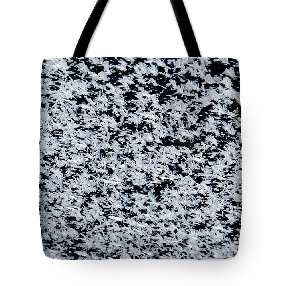 Frost Tote Bag featuring the photograph Frost Flakes On Ice - 17 by Larry Jost