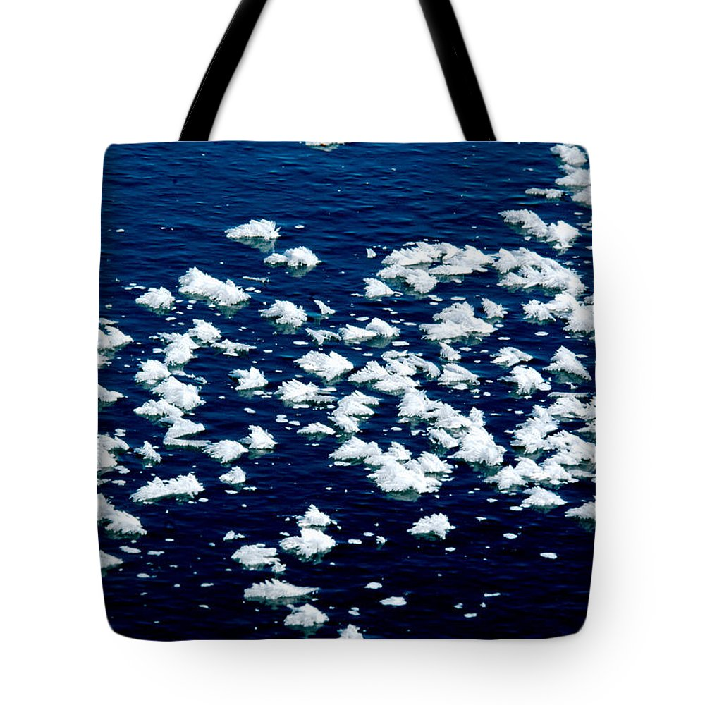 Frost Tote Bag featuring the photograph Frost Flakes On Ice - 21 by Larry Jost